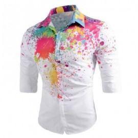 image of LONG SLEEVE COLOR PAINT SPLATTER SHIRT (WHITE) XL
