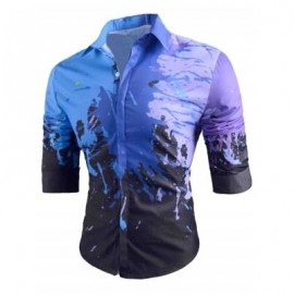 image of SLIM FIT BUTTON UP SPLATTER PAINT SHIRT (BLACK) XL