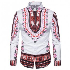 image of ETHNIC STYLE GEOMETRIC PRINT LONG SLEEVE SHIRT (RED) 2XL