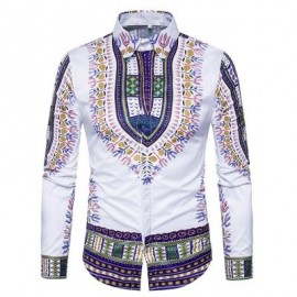image of ETHNIC STYLE GEOMETRIC PRINT LONG SLEEVE SHIRT (PURPLE) XL