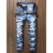image of WASHED DESTROYED JEANS (CLOUDY) 36
