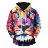 image of COLORMIX LION PRINT KANGAROO POCKET HOODIE (COLORMIX) M