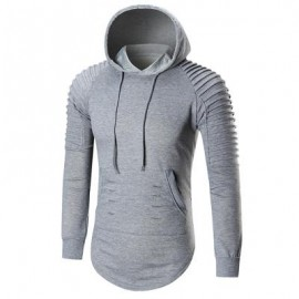 image of PLEATED TRIM DISTRESSED LONGLINE HOODIE (GRAY) M