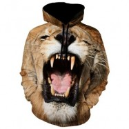 image of KANGAROO POCKET ANIMAL PRINT HOODIE (KHAKI) 2XL