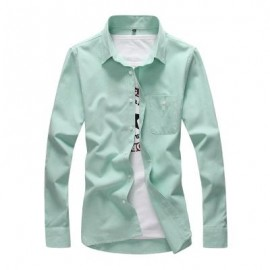 image of FASHION SOLID COLOR WILD MEN'S LONG-SLEEVED SHIRT (IVY) 3XL