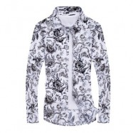 image of FASHION COLLAR FLORAL LONG-SLEEVED SHIRT (FLORAL) 2XL