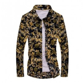 image of FASHION LAPEL CASUAL YELLOW MEN'S LONG-SLEEVED SHIRT (FLORAL) 2XL