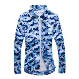 image of MEN'S FASHION CAMOUFLAGE LONG-SLEEVED SHIRT MEN (BLUE) XL