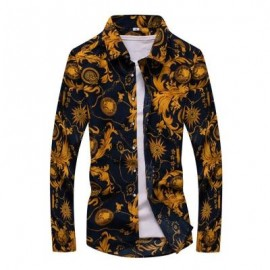 image of FASHION LAPEL MEN'S CLOTHING LONG-SLEEVED SHIRT MALE (FLORAL) 5XL