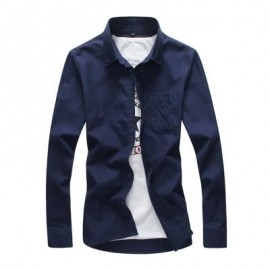 image of FASHION SOLID COLOR WILD MEN'S LONG-SLEEVED SHIRT (CADETBLUE) 5XL