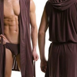 image of MENS SEXY ROBE WITH THONG (COFFEE, SIZE S) -