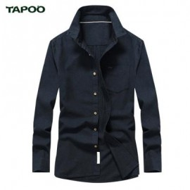 image of TAPOO CASUAL MULTI-BUTTON DESIGN PURE COLOR MALE LONG SLEEVE SHIRT L
