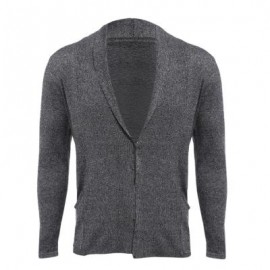 image of CASUAL PURE COLOR LONG SLEEVE SLIM FIT MALE SWEATER (SMOKY GRAY M/L/XL/XXL) XL