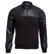 image of STYLISH PATCHWORK DESIGN SLIM FIT STAND COLLAR JACKET FOR MALE (BLACK) L