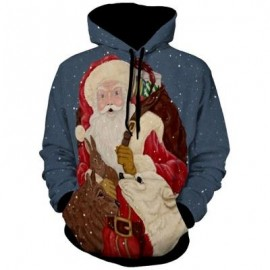 image of SANTA CLAUS PRINT KANGAROO POCKET CHRISTMAS HOODIE (BLUE) 3XL