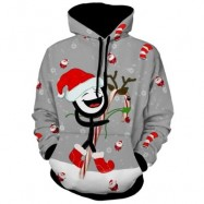 image of KANGAROO POCKET PRINTED PULLOVER CHRISTMAS HOODIE (GRAY) XL