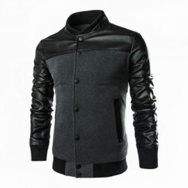 image of STYLISH PATCHWORK DESIGN SLIM FIT STAND COLLAR JACKET FOR MALE (GRAY) L