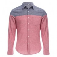 image of SLIM PATCHWORK BUTTON DESIGN MALE LONG SLEEVE CASUAL SHIRT (WATERMELON RED) M