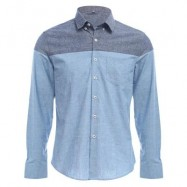 image of SLIM PATCHWORK BUTTON DESIGN MALE LONG SLEEVE CASUAL SHIRT (BLUE) L
