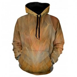 image of 3D PRINT PULLOVER KANGAROO POCKET HOODIE (ORANGE) 2XL