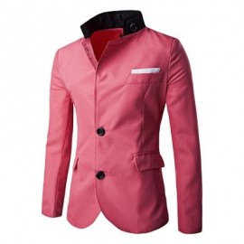 image of STAND-UP COLLAR SLIM-FITTING SUIT JACKET MEN PATCHWORK BLAZER (RED) XL