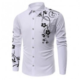 image of FLORAL PRINTED LONG SLEEVES SHIRT (WHITE) XL