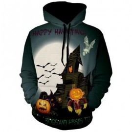 image of HALLOWEEN GRAPHIC PRINT PULLOVER HOODIE (COLORMIX) L