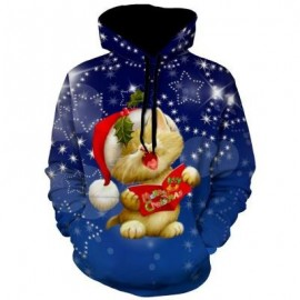 image of CHRISTMAS ANIMAL PRINT PULLOVER HOODIE (BLUE) L