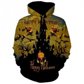 image of HAPPY HALLOWEEN GRAPHIC PULLOVER HOODIE (COLORMIX) XL