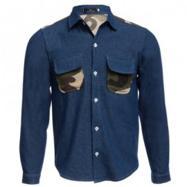 image of CASUAL CAMOUFLAGE POCKET DECORATION MALE LONG SLEEVE DENIM SHIRT (DEEP BLUE M/L/XL/XXL) M
