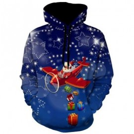 image of ALLOVER STAR PRINT SANTA CLAUSE CHRISTMAS HOODIE (BLUE) 2XL