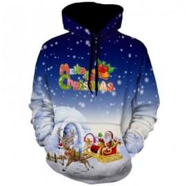 image of CHRISTMAS SANTA CLAUSE REINDEER PULLOVER HOODIE (BLUE) L