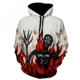 image of FLAME DEVIL PRINT PULLOVER HALLOWEEN HOODIE (WHITE) XL