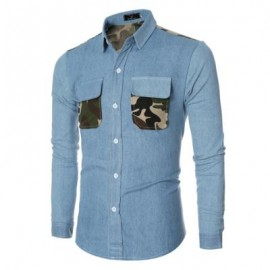 image of CASUAL CAMOUFLAGE POCKET DECORATION MALE LONG SLEEVE DENIM SHIRT (LAKE BLUE M/L/XL/XXL) L