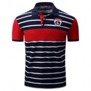 image of COLOR BLOCK PANEL STRIPE EMBROIDERED POLO T-SHIRT (DEEP BLUE) 2XL