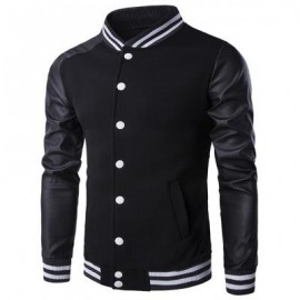 image of PU-LEATHER AND STRIPE RIB SPLICING STAND COLLAR JACKET (BLACK) 2XL