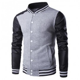 image of PU-LEATHER AND STRIPE RIB SPLICING STAND COLLAR JACKET (GRAY) 2XL