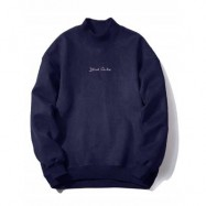 image of CREW NECK GRAPHIC PRINT SUEDE SWEATSHIRT (PURPLISH BLUE) M
