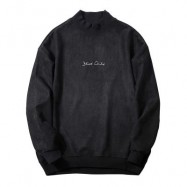 image of CREW NECK GRAPHIC PRINT SUEDE SWEATSHIRT (BLACK) XL