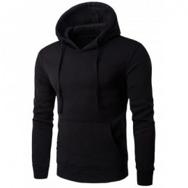 image of KANGAROO POCKET DRAWSTRING FLOCKING PULLOVER HOODIE (BLACK) L