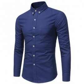 image of COTTON POCKET BUTTON DOWN SHIRT (ROYAL) M