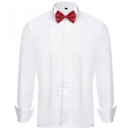 image of SOLID COLOR BOW TIE TURN-DOWN COLLAR MALE FRENCH TUXEDO SHIRT (WHITE) 40