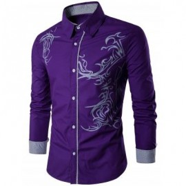 image of TOTEM PATTERN LONG SLEEVE SHIRT (PURPLE) XL