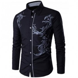 image of TOTEM PATTERN LONG SLEEVE SHIRT (BLACK) 3XL