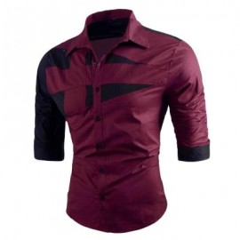 image of TURN-DOWN COLLAR TWO TONE SHIRT (RED) 2XL