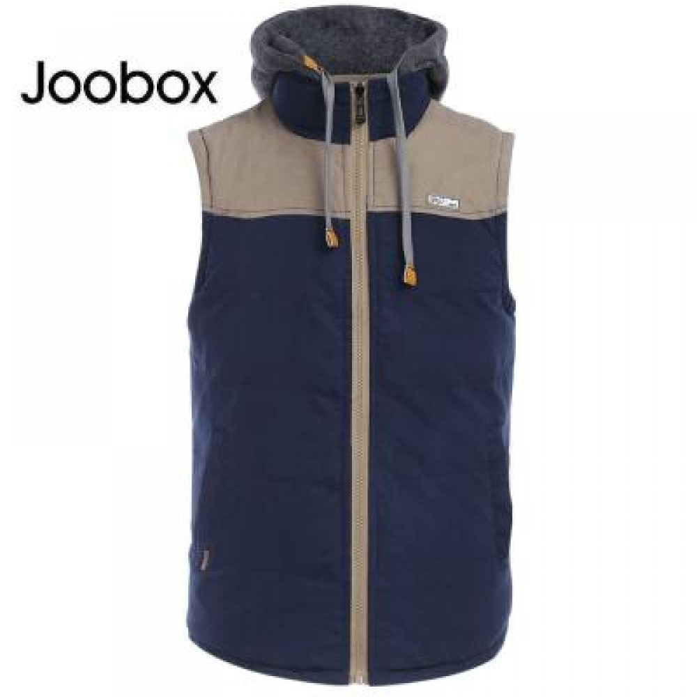JOOBOX STYLISH COLOR BLOCK DESIGN ZIPPER DETACHABLE HAT MALE SLEEVELESS VEST L