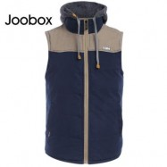 image of JOOBOX STYLISH COLOR BLOCK DESIGN ZIPPER DETACHABLE HAT MALE SLEEVELESS VEST L