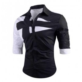 image of TURN-DOWN COLLAR TWO TONE SHIRT (BLACK) M