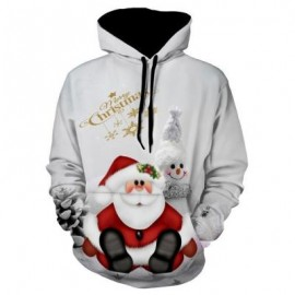 image of SNOWMAN PRINT PULLOVER CHRISTMAS HOODIE (GRAY) 3XL