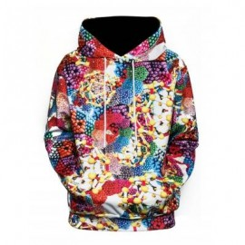image of 3D GEOMETRIC MAGNETIC BALLS PRINT PULLOVER HOODIE (COLORMIX) 2XL